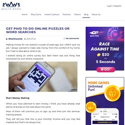 Get Paid to do Online Puzzles or Word Searches - Wealth Words