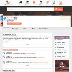 MAT 2015 Online Registration, Exam Date, Syllabus & Admit Card