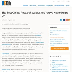 Best Online Research Apps/Sites You've Never Heard Of