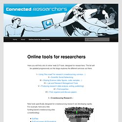 Online tools for researchers
