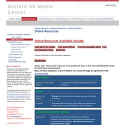 Online Resources - Ballard HS Media Center