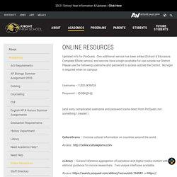 Online Resources - Knight High School