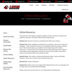 Online Resources – WHS Library