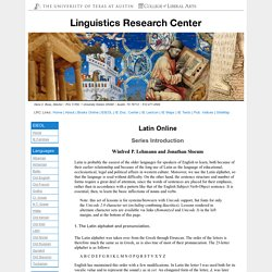 Latin Online: Series Introduction