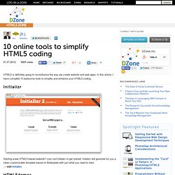 10 online tools to simplify HTML5 coding