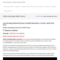 Online Sociology Classes for UPSC Exam 2020