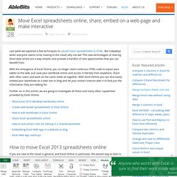Excel Online – create web-based spreadsheets, share & publish on a web-site