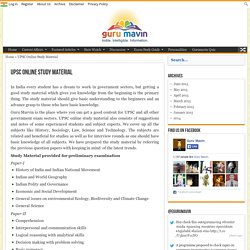 Free UPSC Online Study Material