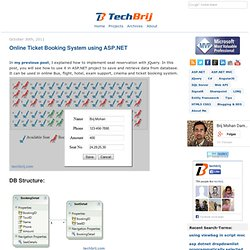 Online Ticket Booking System using ASP.NET