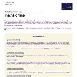 Online tools - maths online