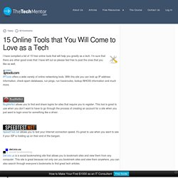15 Online Tools that You Will Come to Love as a Tech - TheTechMentor.com