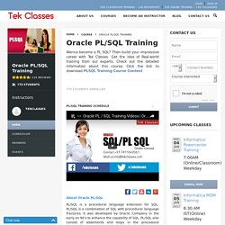 PL SQL Online Training