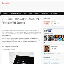 13 Free Online Books and 17 Free eBooks (PDF) Tutorials For Web Designers | JournalDev