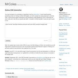 Online CSS Unminifier - Peter Coles