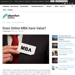 Does Online MBA have value?