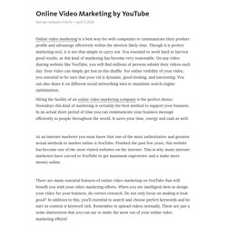 Online Video Marketing by YouTube