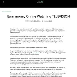 Earn money Online Watching TELEVISION