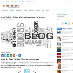 How To Earn Online Without Investment of Money