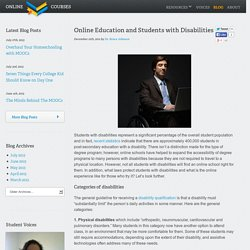 Online Education and Students with Disabilities