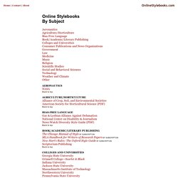 OnlineStylebooks.com By Subject