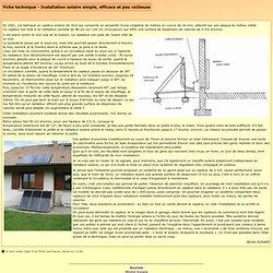 Fiche technique : Installation solaire simple, efficace et peu coûteuse
