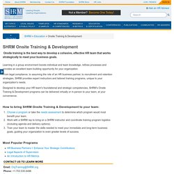 SHRM Onsite Training & Development