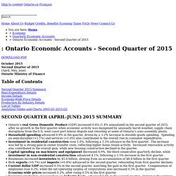 Ontario Economic Accounts - Second Quarter of 2015