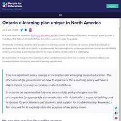 Ontario e-learning plan unique in North America