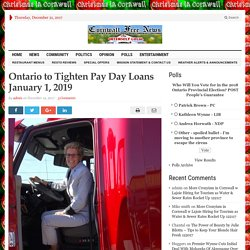 Ontario to Tighten Pay Day Loans January 1, 2019