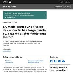 Brève - Investissement Internet haute vitesse en Ontario