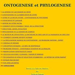 ONTOGENESE et PHYLOGENESE