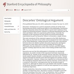 Descartes Ontological Argument (Stanford Encyclopedia of Philosophy)