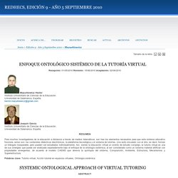 ENFOQUE ONTOLÓGICO SISTÉMICO DE LA TUTORÍA VIRTUAL