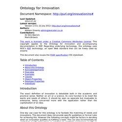 Ontology for Innovation