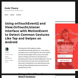 Using onTouchEvent() and View.OnTouchListener Interface with MotionEvent to Detect Common Gestures Like Tap and Swipes on Android – Code Theory