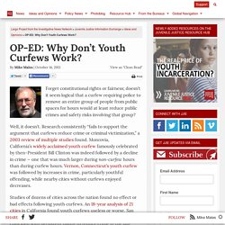 OP-ED: Why Don't Youth Curfews Work?