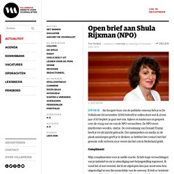 Open brief aan Shula Rijxman (NPO) door Ton Verlind