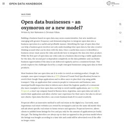 Open data businesses - an oxymoron or a new model?
