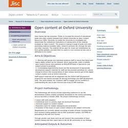 Open content at Oxford University