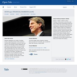 Financial Markets — Open Yale Courses