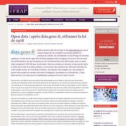 Open data : après data.gouv.fr, réformer la loi de 1978