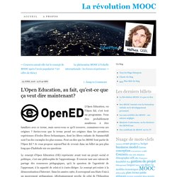 L'Open Education, au fait, qu'est-ce que ça veut dire maintenant?