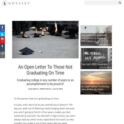An Open Letter To Those Not Graduating On Time