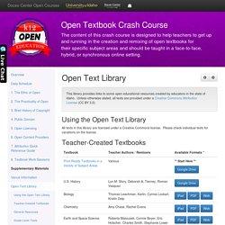 Open Textbook Crash Course