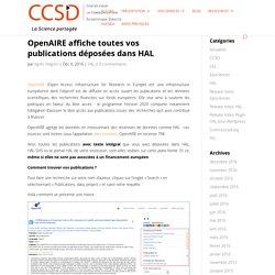 OpenAIRE affiche toutes vos publications déposées dans HAL