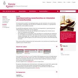 Eerste Kamer der Staten-Generaal - Openbaarmaking nevenfuncties en inkomsten uit nevenfuncties (30.425) 2mrt2010