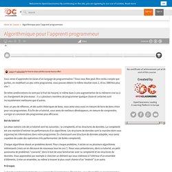 OpenClassrooms - Algorithmique pour l'apprenti programmeur