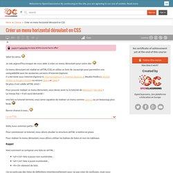Créer un menu horizontal déroulant en CSS
