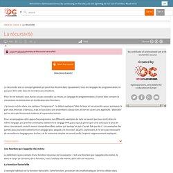 OpenClassrooms - La récursivité