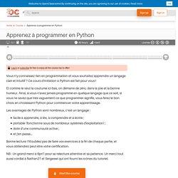 OpenClassrooms - Apprenez à programmer en Python